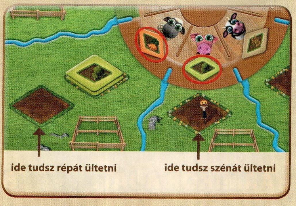 Azt mutatja meg a kép, mit hova lehet vetni farmerama társasjátékban.